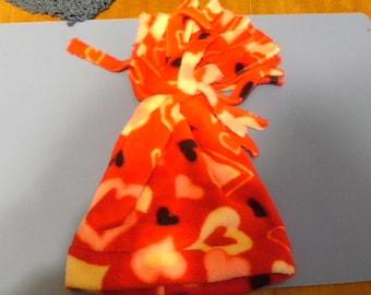 Children's Fleece Hat (red hearts)