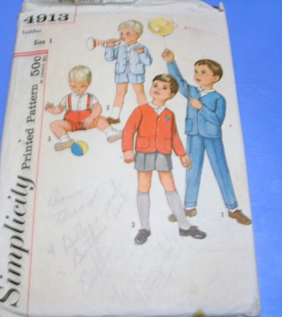 Sixties Simplicity Little Boys Suit Pattern  4913