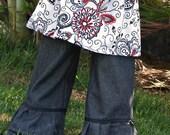 Girls Boutique Washed Black Denim Ruffle Pants Ribbon Trim Baby Toddler 6 mo 12 mo 2T 3T 4T 5T 6 7 8 9 10