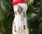 Handmade Hawaiian Strapless Summer Dress Plum Cream Tapa XS, Sm, Med, Lg