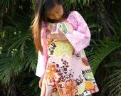 Girls Tunic Dress Pink Rivoli Peasant Dress 6mos to 12