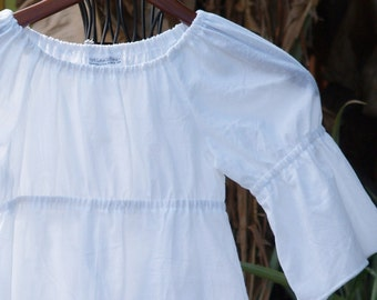 Girls Boutique Peasant Top White Cotton Lawn Tunic Top  6mos to 12            3/4 Sleeve