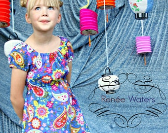 Girls A-Line Dress Peasant Dress Paisley Spree 6mos to 12
