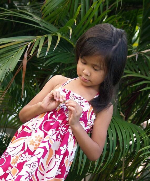 Girls Hawaiian Dress Luau Birthday Tropical Flowers Pink 6mos to 10