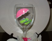 Beach Umbrella and Flip Flop Wine Glass, Handpainted Personalized Wine Glass, Nautical Wine Glass, Personalized Gift