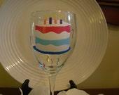 Birthday  Wine Glass Handpainted Cake Personalized