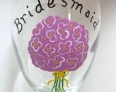 Bridesmaid Wine Glass Handpainted Personalized