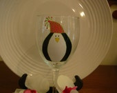 Penguin Wine Glass Handpainted Personalized, Personalized Glass, Penguin Wine Glass, Handpainted Wine Glass