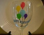 Birthday Wine Glass Handpainted Happy Birthday