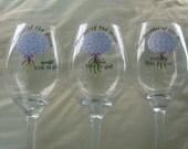 Handpainted Bridesmaid Wine Glasses Personalized Set of 3