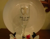 Wedding Champagne Flute Personalized Handpainted Bride and Groom
