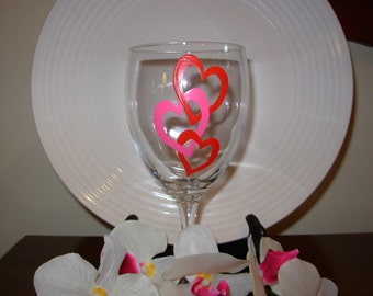 Valentine's Day Handpainted Wine Glass