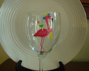 Pink Flamingo Wine Glass Diva Handpainted, painted glassware, whimsical glass