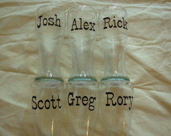 Handpainted Personalized Groomsman Pilsners,  Set of 6, Groomsman Gift, Groomsman Favor, Personalized Glass, Personalized Beer Glass