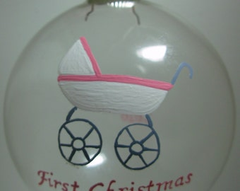 Baby's First Christmas Ornament Handpainted Glass Ball Ornament, New Baby Ornament, First Christmas Ornament, Personalized Ornament