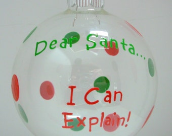 Santa Christmas Ornament Handpainted Personalized
