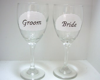Bride and Groom Wine Glass, Handpainted Personalized Wine Glass, Wedding Gift, Toasting Glasses, Wedding Toasting Glasses, Personalized Gift