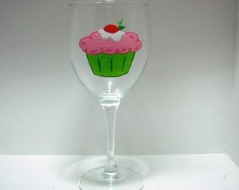 Cupcake Wine Glass Handpainted Personalized
