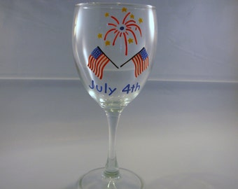 Handpainted Wine Glass 4th of July Flag and Fireworks. holiday glass, painted glass
