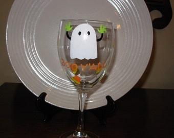 Ghost  Halloween Wine Glass Handpainted