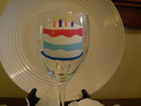 Birthday  Wine Glass Handpainted Cake Personalized, Handpainted glassware, painted wine glass, birthday glass, birthday gift