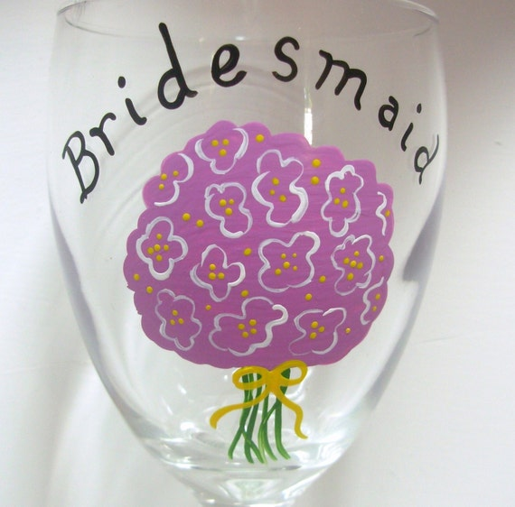 Bridesmaid Wine Glass Handpainted Personalized, Bridesmaid Bouquet Glass, Personalized Wine Glass, Wedding Attendant Gift, bridal bouquet