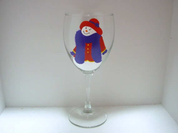 Handpainted Snowman  Wine Glass with Red Hat and Boa, Snowman glass, Snow woman glass, Christmas glass