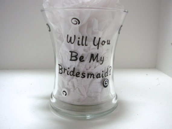 Bridesmaid Shot Glass Handpainted Will You Be My Bridesmaid, bridesmaid gift, attendant gift, wedding favor