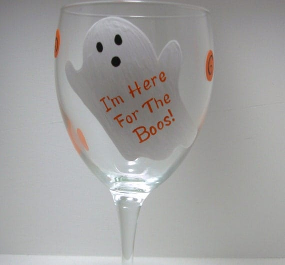 Handpainted Ghost Halloween Wine Glass.personalized glass holiday glass
