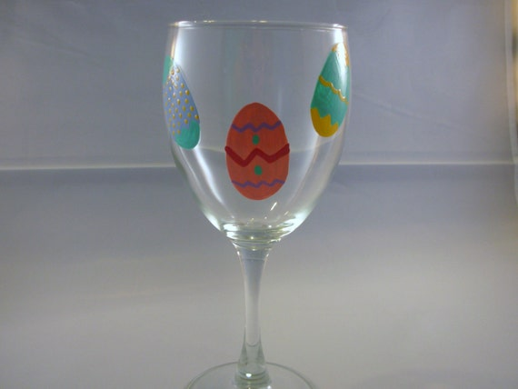Handpainted Easter Wine Glass Personalized Easter Eggs, Easter Wine Glass, Holiday Wine Glass, Easter Tableware, Handpainted Wine Glass