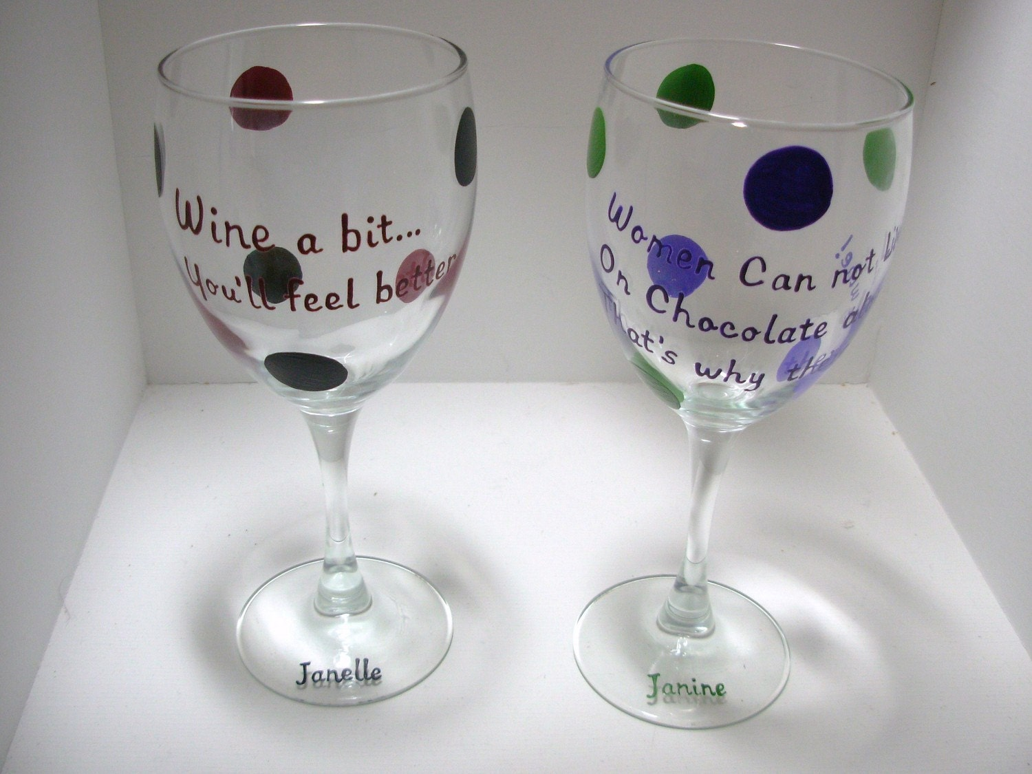 Handpainted Wine Sayings Personalized Wine Glasses Reserved