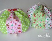 Riley Blake fabric cute shell pouch/ drawstring pouch Set of 2 / christmas