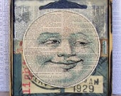 Man in the Moon- Bright Idea     Mixed Media Encaustic Sewn Collage