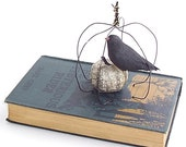 """Black Crow Pumpkin Altered Book Mixed Media - """"The Mysterious Reader"""""""