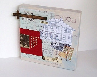 Mixed Media Collage Original - Before They Tore It Down