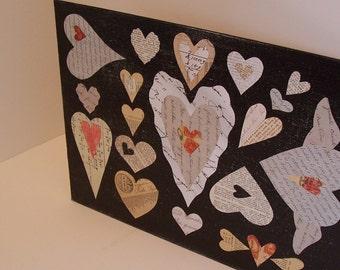 Paper Heart Collage  Hand Cut Original