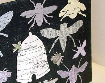 Honey Bee Paper Silhouette Vintage Paper Collage