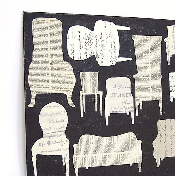 Chair Collage Vintage Papers Silhouette - Twelve Comfy Chairs
