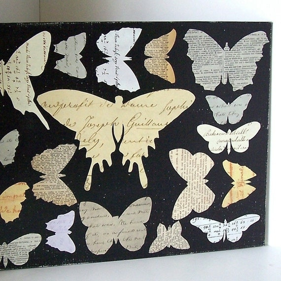 Butterfly Collage Vintage Book Paper Silhouettes