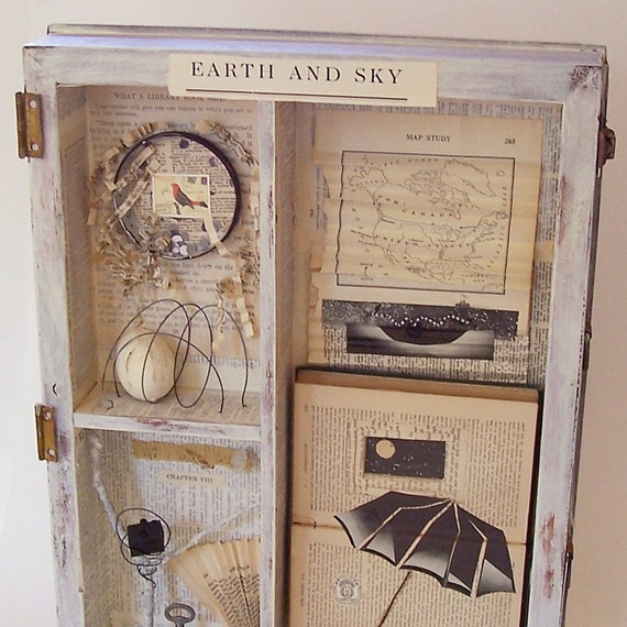Assemblage Art Wooden Box / Joseph Cornell Tribute / Earth and Sky