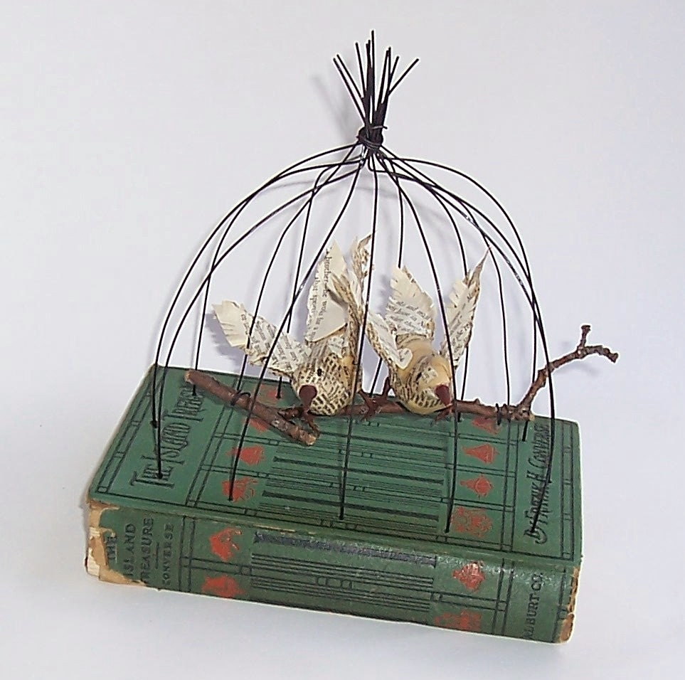 Paper Mache Book Cover : Altered book two paper mache birds on branch in wire cage