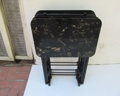 Artex TV Tray Set / Marble Look Laminate Tops / Wood Frames / Mid Century Vintage