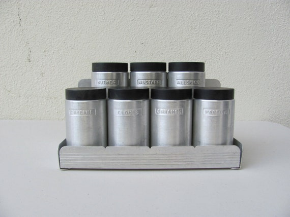 Vintage Mid Century Kromex Spun Aluminum Spice Rack and Spice Canisters