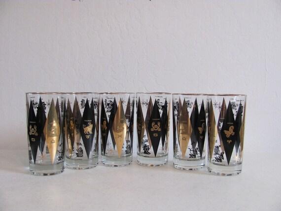 Vintage Tumblers / Zodiac / Tall Rocks Glasses / Barware