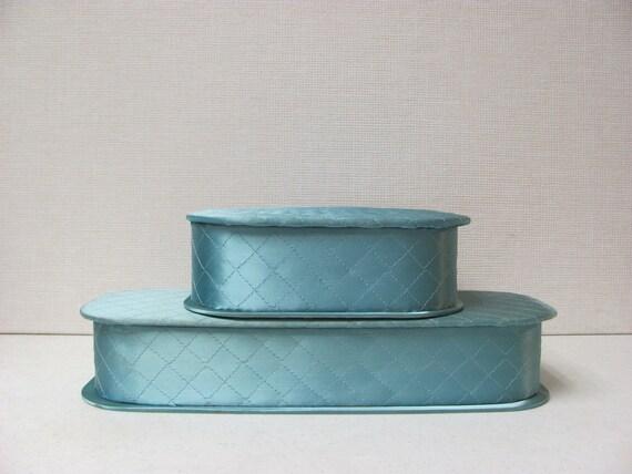Vintage Mid Century / Quilted Blue Satin  / Handkerchief Box / Glove Box