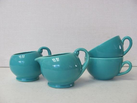 Vintage Metlox Poppytrail Series 200 Solid Aqua Blue  Sugar Bowl Creamer and Coffee Cups