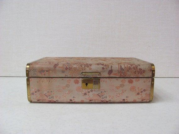Vintage Mid Century Jewelry Box / Farrington / Peach Brocade / Seafoam Green