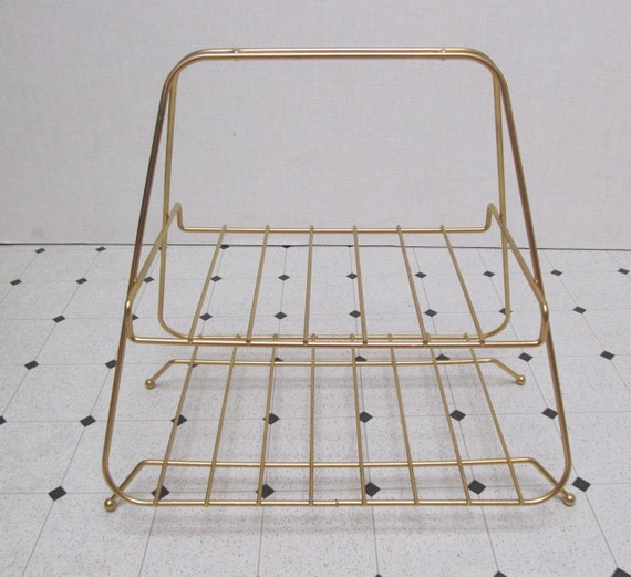 Mid Century Modern / Magazine Rack / Two Shelf / Triangle Profile / Vintage 1950s