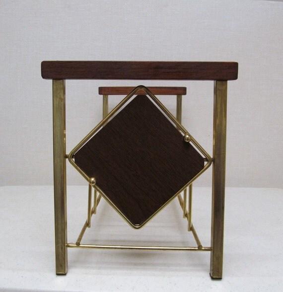 Vintage Record Rack / Bookend Diamond Design /  Tabletop