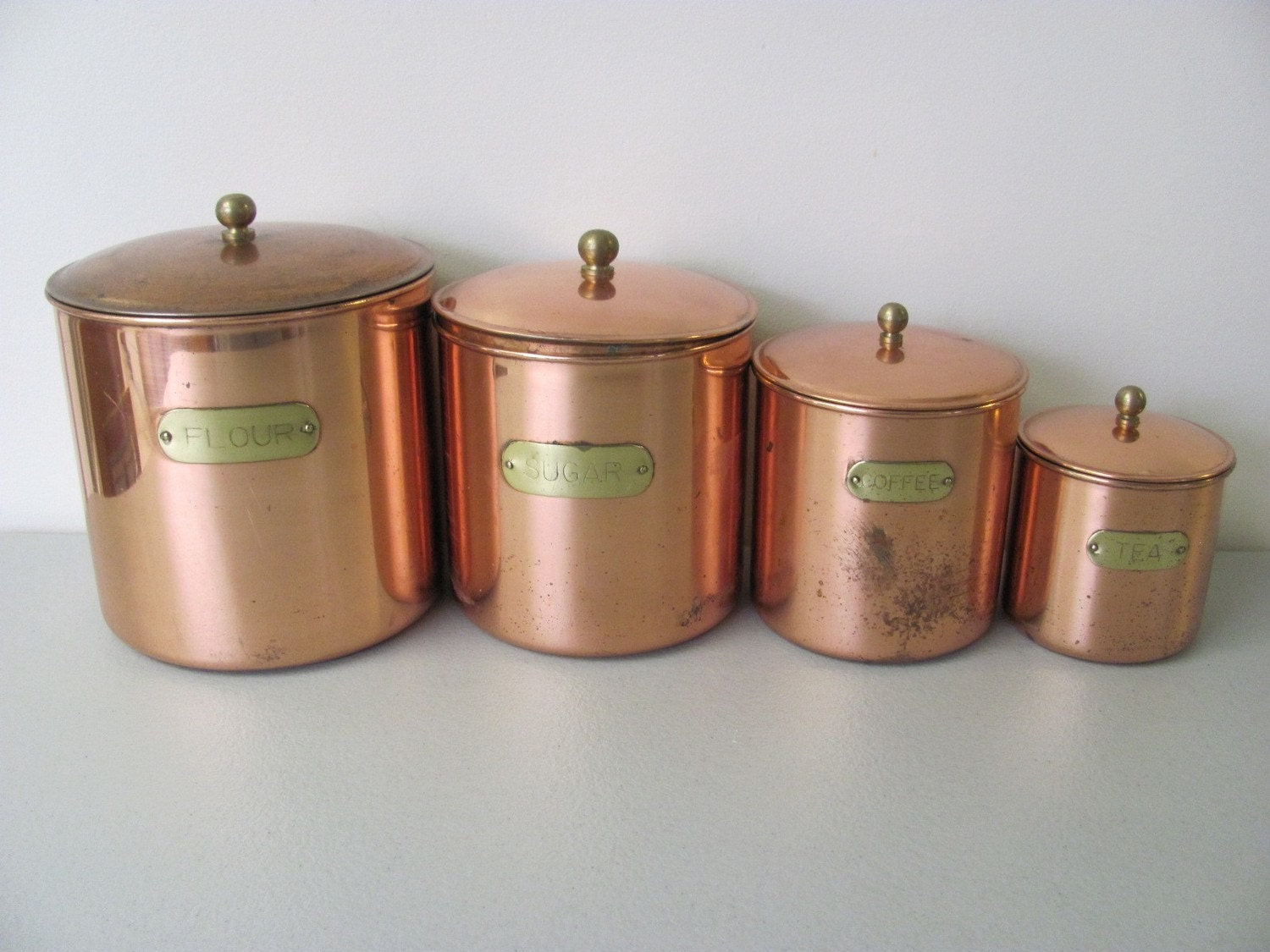 Vintage copper plated kitchen canister set for Kitchen kitchen set